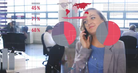 beyaz yakalı işçi : Animation of fast motion of a Caucasian woman in a busy office with financial data 4k