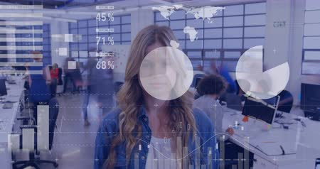 comparar : Animation of fast motion of a young Caucasian woman in a busy office with financial data in the foreground 4k Stock Footage
