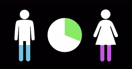 demographic : Animation of male and female shapes and pie chart filling up with green, blue and pink on black background 4k