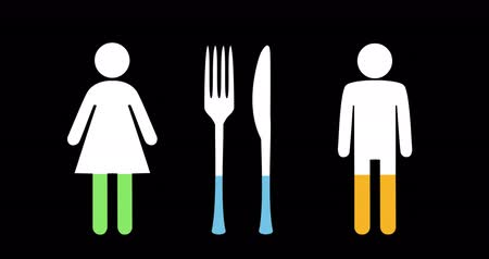 demographic : Animation of male and female and knife and fork filling up with green, blue and yellow on black background 4k Stock Footage