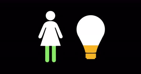 demographic : Animation of female and light bulb shapes filling up with green and yellow on black background 4k Stock Footage