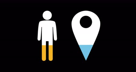 demographic : Animation of male and location pin shapes filling up with blue and yellow on black background 4k Stock Footage
