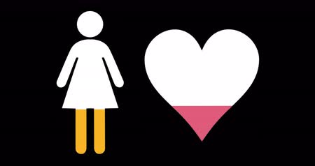 demographic : Animation of female and heart shapes filling up with pink and yellow on black background 4k
