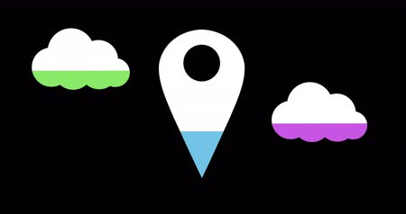 compleição : Animation of cloud and location pin filling up with blue, green and purple on black background 4k