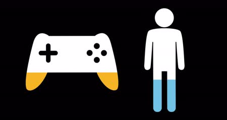 demographic : Animation of male and game controller shapes filling up with blue and yellow on black background 4k