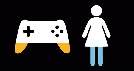 demographic : Animation of female and game controller shapes filling up with blue and yellow on black background 4k