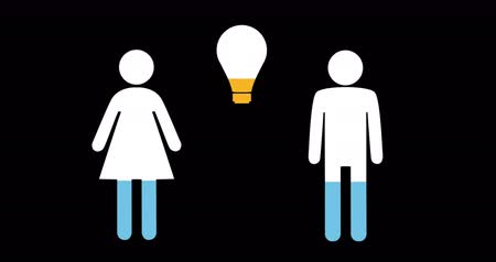 demographic : Animation of male, female and light bulb shapes filling up with blue and yellow on black background 4k