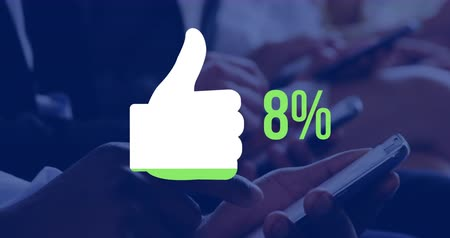 por cento : Animation of thumb up and and percent increasing from zero to seventy one filling in green while people are using smartphones in the background 4k