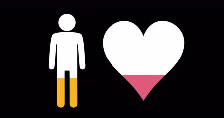 demographic : Animation of male and heart shapes filling up with pink and yellow on black background 4k Stock Footage