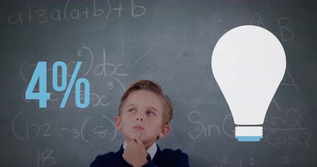 kusy : Animation of a Caucasian schoolboy in the classroom with a light bulb shape and percent increasing from zero to fifty filling in blue in the foreground 4k Dostupné videozáznamy