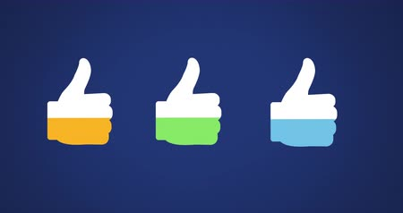 compleição : Animation of three thumb up shapes in a row filling up with green, blue and yellow on dark blue background 4k
