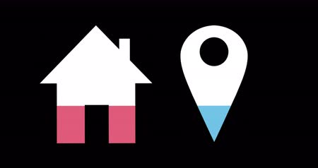 completo : Animation of house and location pin shapes filling up with blue and pink on black background 4k Stock Footage