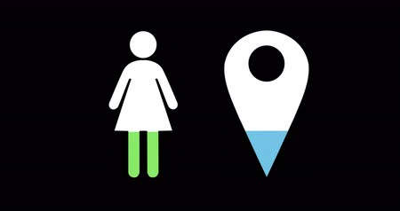 demographic : Animation of female and location pin shapes filling up with blue and green on black background 4k