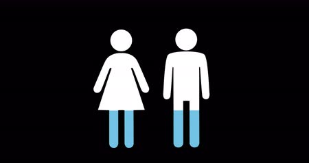 demographic : Animation of male and female shapes filling up with blue on black background 4k
