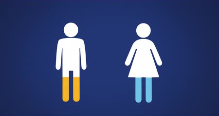 demographic : Animation of male and female shapes filling up with blue and yellow on blue background 4k Stock Footage