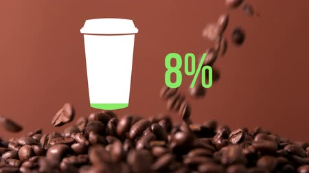 devět : Animation of coffee cup and percent increasing from zero to sixty nine filling in green with coffee beans falling in the background Dostupné videozáznamy