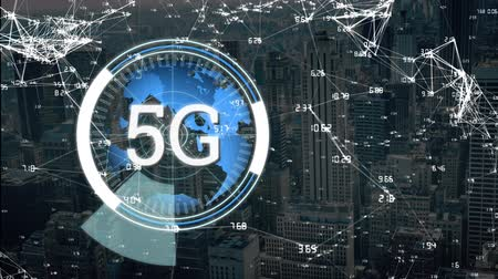 развертка : Animation of 5G displayed in a rotating circle with a world map and cityscape in the background
