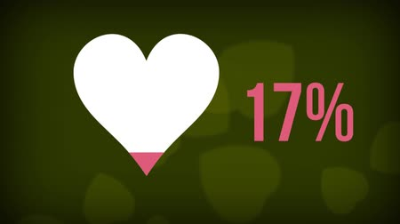 completo : Animation of heart shape and percent increasing from zero to one hundred filling in pink while heart shapes falling on green background