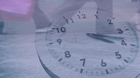 pace : Animation of people walking slowly with fast ticking clock in the foreground