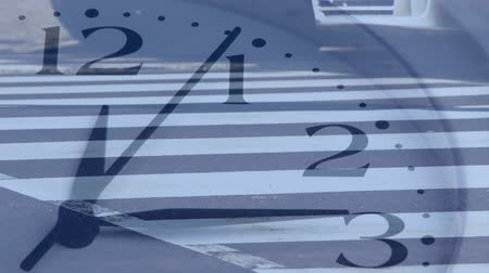 velocity : Animation of people walking across zebra crossing in fast motion with ticking clock in the foreground
