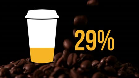 completo : Animation of coffee cup and percent increasing from zero to one hundred filling in yellow and coffee beans falling in the background Stock Footage