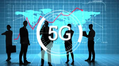 linked : Animation of 5g displayed in a rotating circle while business people are using modern technology with graph and world map in the background Stock Footage