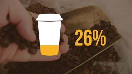 completo : Animation of coffee cup and 100% number filling up with yellow and person picking coffee beans in the background Stock Footage