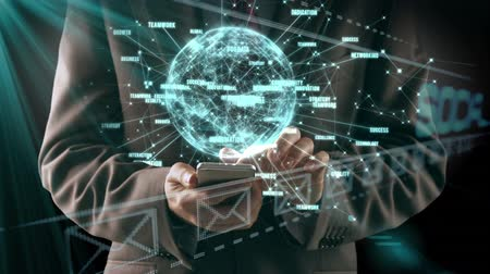 linked : Animation of the word Social is displayed with spinning globe and network links while businessman is using smartphone in the background Stock Footage