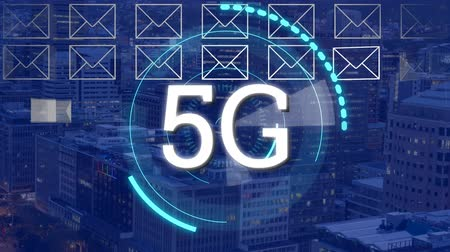 koperta : Animation of 5g displayed in a rotating circle with a envelope icons and cityscape in the background