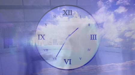 pace : Animation of people walking in fast motion with ticking clock in the foreground and blue sky in the background