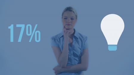 colour design : Animation of light bulb shape and percent increasing from zero to one hundred filling up with blue, with thoughtful young Caucasian woman on blue background
