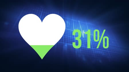 heart rate : Animation of heart shape and percent increasing from zero to one hundred filling in green on blue background with grid