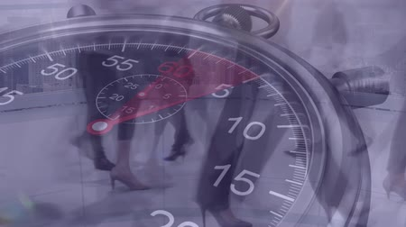 stoper : Animation of people walking fast with ticking stopwatch in the foreground Wideo