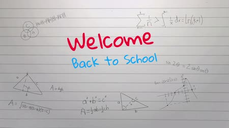 rukopisný : Animation of the words Welcome Back To School handwritten in red and blue with mathematical formulae on a ruled notebook background