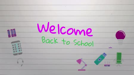rukopisný : Animation of the words Welcome Back To School handwritten in pink and green with colourful icons moving on a ruled notebook background Dostupné videozáznamy