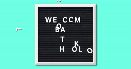 letter board : Animation of the words Welcome Back To School formed in white letters on a square black letter board with white frame on a turquoise background 4k