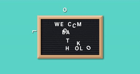 négyszögletes : Animation of the words Welcome Back To School formed in white letters on a rectangular black letter board with wooden frame on a turquoise background 4k