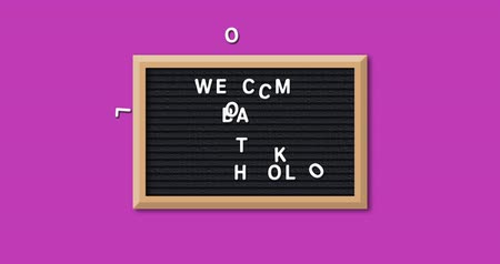 négyszögletes : Animation of the words Welcome Back To School formed in white letters on a rectangular black letter board with wooden frame on a pink background 4k