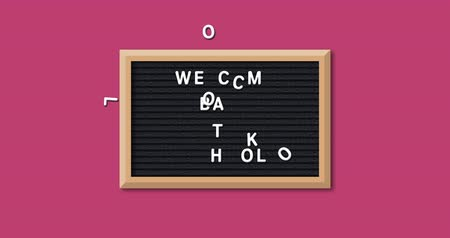 alunos : Animation of the words Welcome Back To School formed in white letters on a rectangular black letter board with wooden frame on a red background 4k Stock Footage