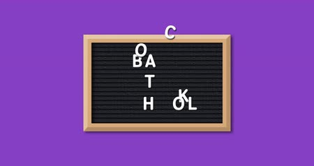 négyszögletes : Animation of the words Back To School formed in white letters on a rectangular black letter board with wooden frame on a purple background 4k