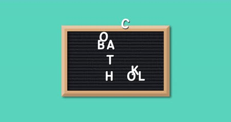 négyszögletes : Animation of the words Back To School formed in white letters on a rectangular black letter board with wooden frame on a turquoise background 4k