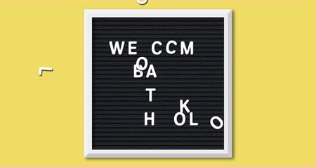 black yellow : Animation of the words Welcome Back To School formed in white letters on a square black letter board with white frame on a yellow background 4k Stock Footage