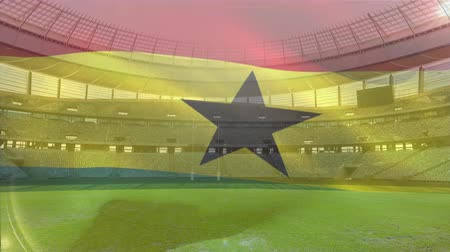 rúgbi : Animation of a blowing flag of Ghana in front of a sports stadium