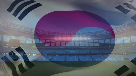 antecipação : Animation of a blowing South Korean flag in front of a sports stadium