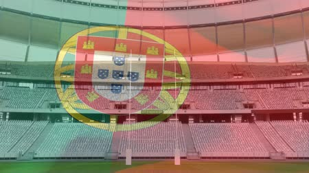 antecipação : Animation of a blowing Portuguese flag in front of a sports stadium