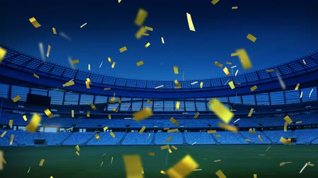 чемпион : Animation of golden confetti falling down in front of sports stadium Стоковые видеозаписи