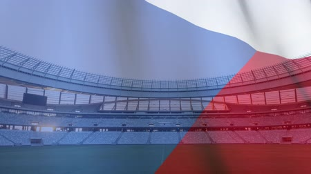 antecipação : Animation of a blowing Czech flag in front of a sports stadium
