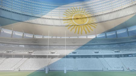 rúgbi : Animation of a blowing Argentinian flag in front of a sports stadium