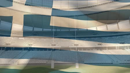 greek flag : Animation of a blowing Greek flag in front of a sports stadium