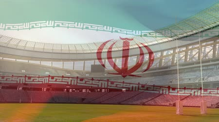 antecipação : Animation of a blowing Iranian flag in front of a sports stadium Vídeos